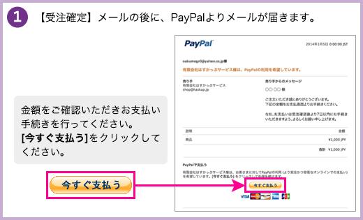 【受注確定】メールの後に、PayPalよりメールが届きます。金額をご確認いただきお支払い手続きを行ってください。[今すぐ支払う]をクリックしてください。