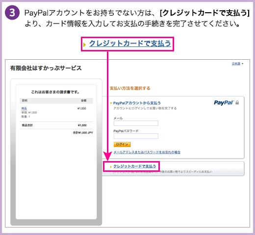 PayPalアカウントをお持ちでない方は、[クレジットカードで支払う]より、カード情報を入力してお支払の手続きを完了させてください。